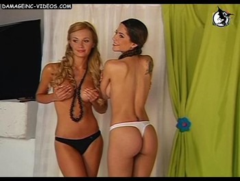 Sexy models posing half naked in video